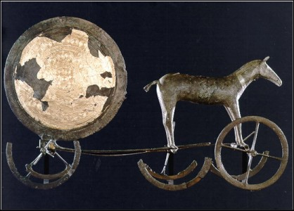 Horse and Sun Chariot and Schematic Draing of Incised Design