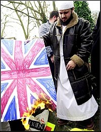 British Muslim Burns the Union Jack