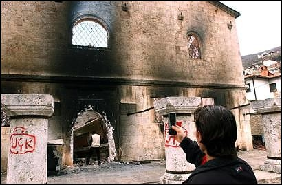 Orthodox Church, Torched by Kosovo Muslims