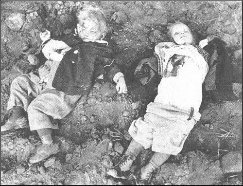 """Убитые немецкие дети.   """"Убивайте фашистских извергов.  Мстите фашистам."""